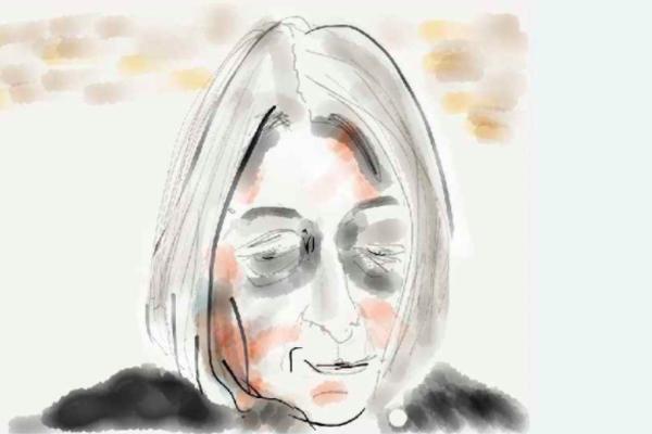 Watercolour sketch of the author Jenny Diski