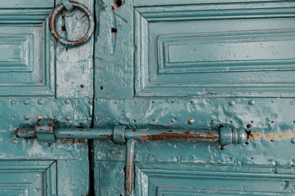 Teal doors with lock